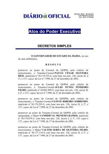 Atos do Poder Executivo DECRETOS SIMPLES - AOPMBA