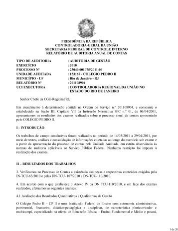 Relatório de Auditoria Exercício 2010 - Colégio Pedro II