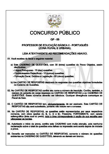 GP-09 Professor de Educação Básica II - Português - Ordem