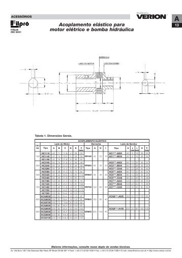 Acoplamento elástico para motor elétrico e bomba hidráulica - Verion