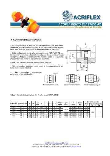 ACOPLAMENTO AZ - ACRIFLEX - Acoplamentos Flexíveis