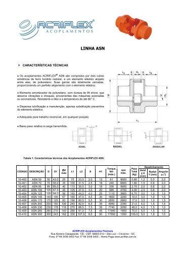 ACOPLAMENTO ASN - ACRIFLEX - Acoplamentos Flexíveis