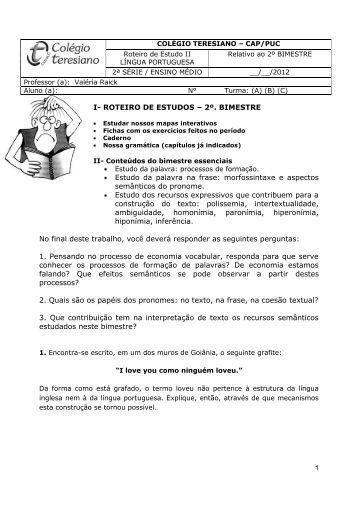 1 I- ROTEIRO DE ESTUDOS - Colégio Teresiano - CAP/PUC