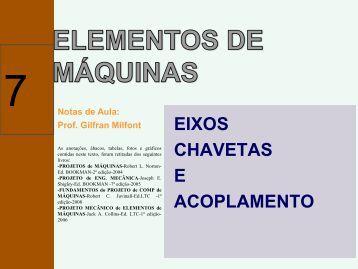 EIXOS CHAVETAS E ACOPLAMENTO - POLI