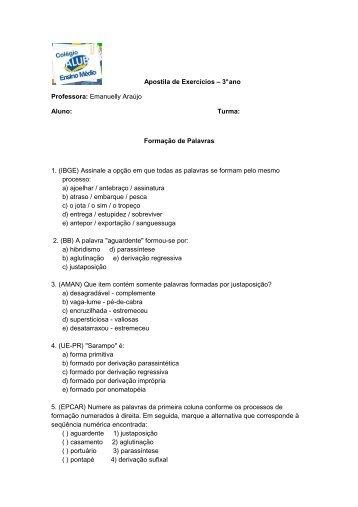 Apostila de Exercícios – 3° ano Professora: Emanuelly ... - ALUB