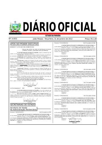 atos do poder executivo secretarias de estado - Governo da Paraíba
