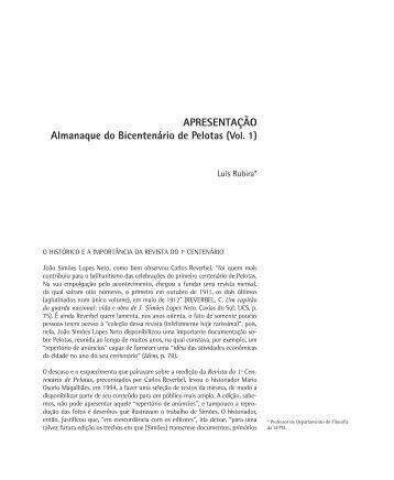 APRESENTAÇÃO Almanaque do Bicentenário de Pelotas (Vol. 1