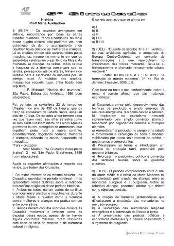 Questões Humanas 1º ano - Colégio Alexander Fleming