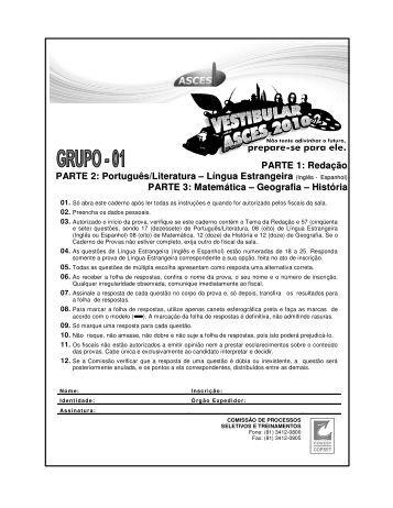PARTE 1: Redação PARTE 2: Português/Literatura ... - Menelau Jr.