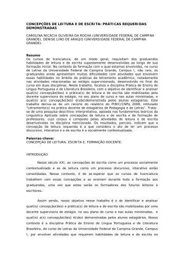 concepções de leitura e de escrita - Associação de Leitura do Brasil