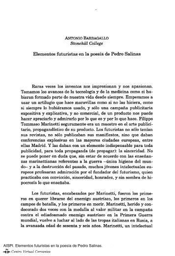 Elementos futuristas en la poesía de Pedro Salinas