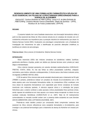 desenvolvimento de uma formulação farmacêutica sólida do ... - UFPI