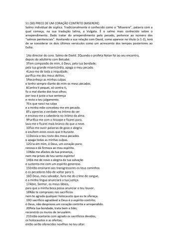 51 (50) PRECE DE UM CORAÇÃO CONTRITO (MISERERE) Salmo ...