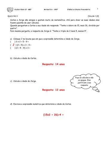 Prova de Matemática - Colégio Pedro II