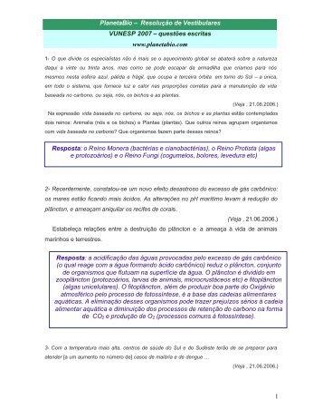 PlanetaBio – Resolução de Vestibulares VUNESP 2007 – questões ...