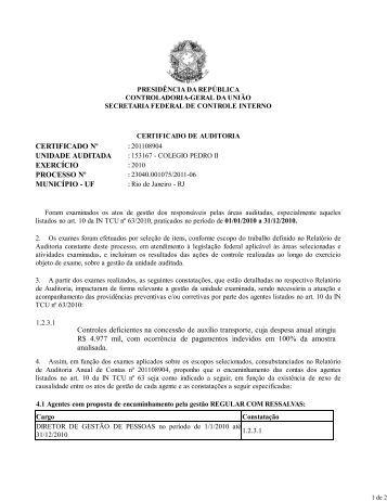 Certificado de Auditoria Exercício 2010 - Colégio Pedro II