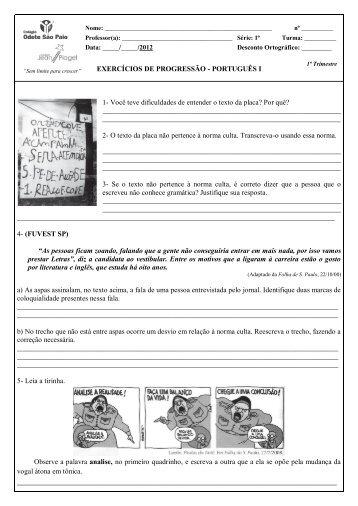Português 1ª série - Colégio Odete São Paio