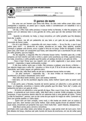 Português I - Colégio de Aplicação Dom Hélder Câmara