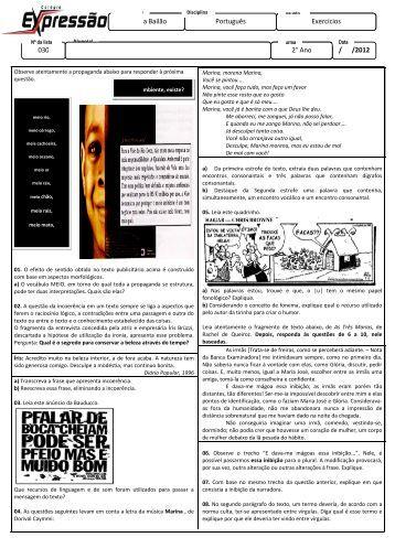 Juliana Bailão 030 Juliana Bailão Português Exercícios / /2012 2° Ano