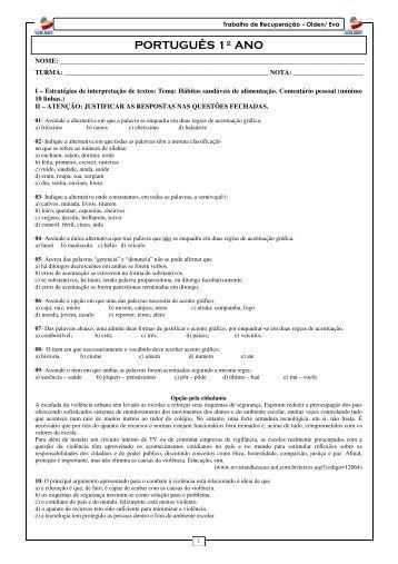 Trabalho de Recuperação - 1º ano - Português - Colégio Solido