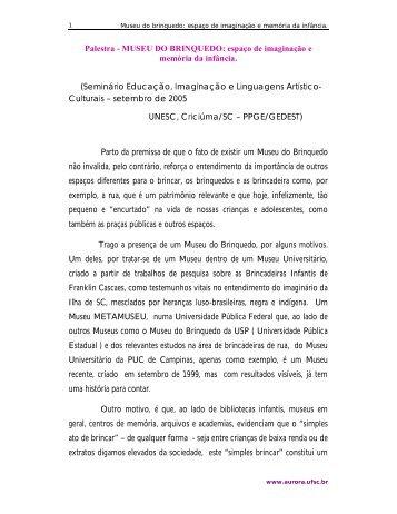 Palestra - MUSEU DO BRINQUEDO: espaço de imaginação e ...