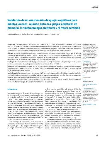 Validación de un cuestionario de quejas cognitivas ... - Logicortex