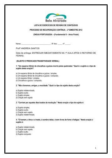 Lista de Exercícios de Recuperação (Férias) - Colégio Bela Alvorada