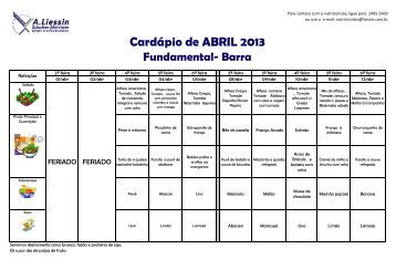 Cardárpio Mensal do Ensino Fundamental I e II