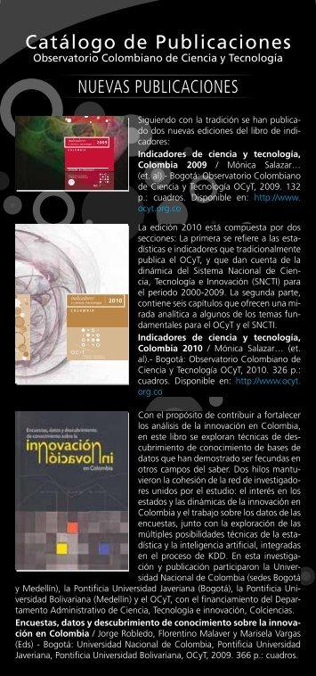Catálogo de Publicaciones - Observatorio colombiano de ciencia y ...