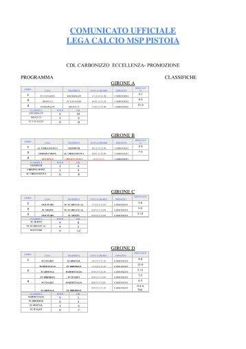 COMUNICATO UFFICIALE LEGA CALCIO MSP PISTOIA - Carbonizzo