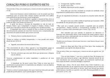 CORAÇÃO PURO E ESPÍRITO RETO - icantmaraba.com