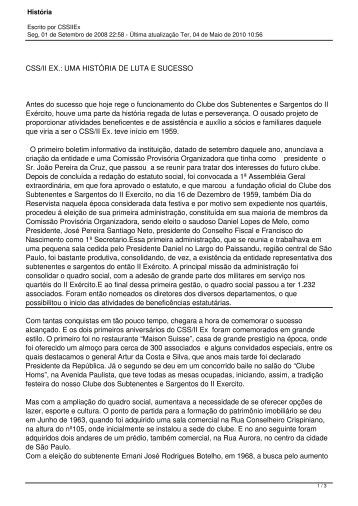 CSS/II EX.: UMA HISTÓRIA DE LUTA E ... - Clube Sargentos