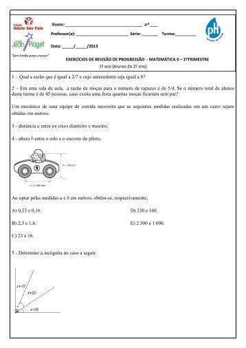 Matemática II – 1ª série - Colégio Odete São Paio
