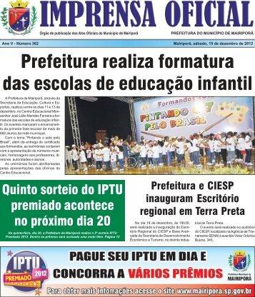 IMPRENSA OFICIAL - EDIÇÃO 362 - Prefeitura Municipal de Mairiporã