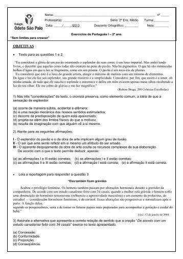 Português I 2º ano - Colégio Odete São Paio
