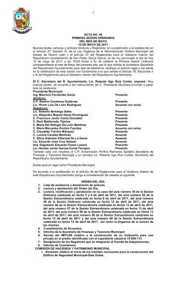 acta 40-2011 primera ordinaria - Municipio de San Pedro Garza ...