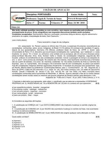 COLÉGIO DE APLICAÇÃO Disciplina: PORTUGUÊS ... - Uniarp