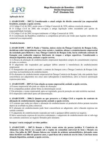Mega Resolução de Questões – CESPE Direito Empresarial ... - LFG