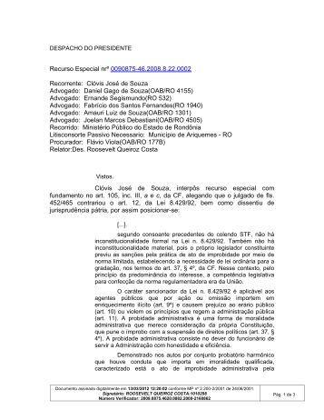 Clóvis José de Souza Advogado: Daniel Gago de Souza(OAB/RO ...