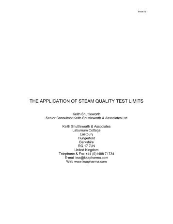 THE APPLICATION OF STEAM QUALITY TEST LIMITS