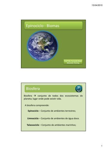 Epinociclo - Biomas Biosfera - Colégio Alexander Fleming