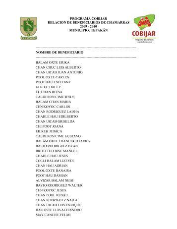 programa cobijar relacion de beneficiarios de chamarras 2009