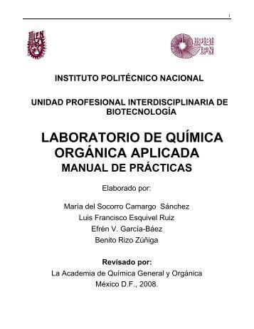 laboratorio de química orgánica aplicada - biblioteca upibi - Instituto ...