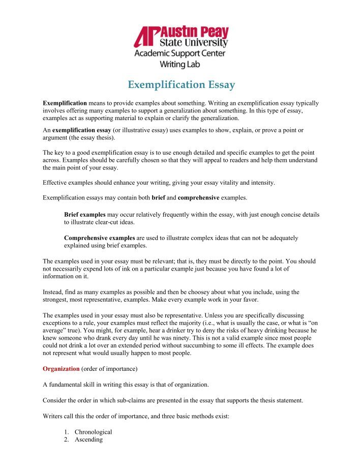 examplification essay ideas