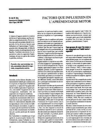 factors que influeixen en l'aprenentatge motor - apunts