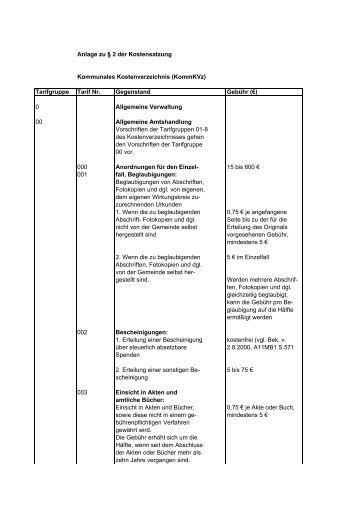 Kommunales Kostenverzeichnis - Gemeinde Gilching