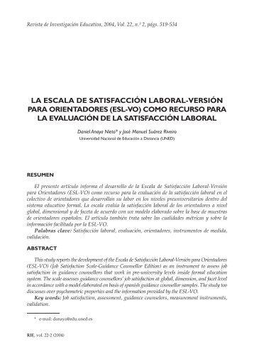 La escala de satisfacción laboral-versión para orientadores (ESL ...