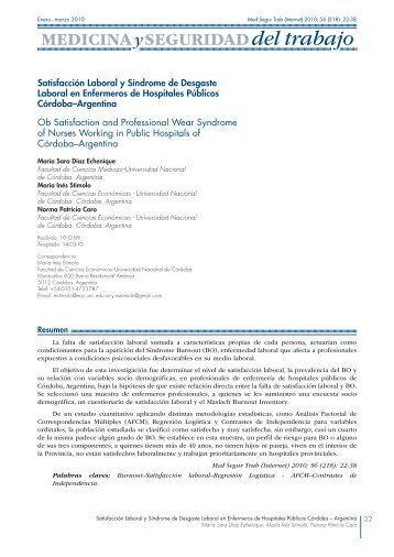 Satisfacción Laboral y Síndrome de Desgaste ... - SciELO España