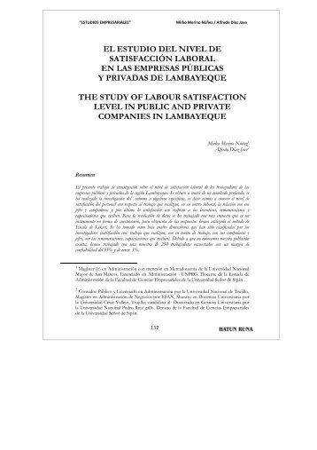 EL ESTUDIO DEL NIVEL DE SATISFACCIÓN LABORAL ... - Dialnet