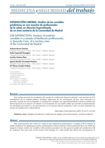 Satisfacción laboral: Análisis de las variables ... - SciELO España